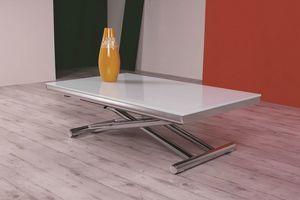 Etoile, Tavolino con piano in vetro, regolabile in altezza