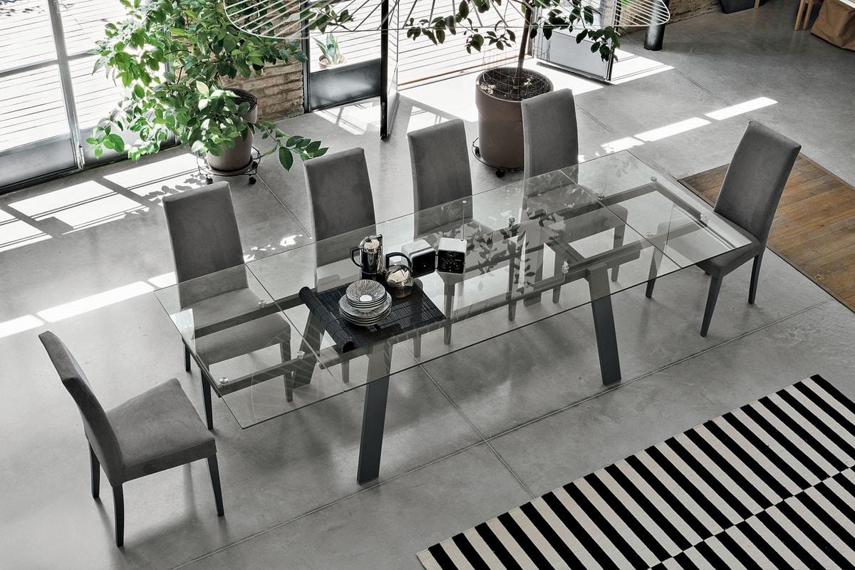 Tavolo allungabile piano ed allunghe in vetro per sala for Tavolo pranzo trasparente