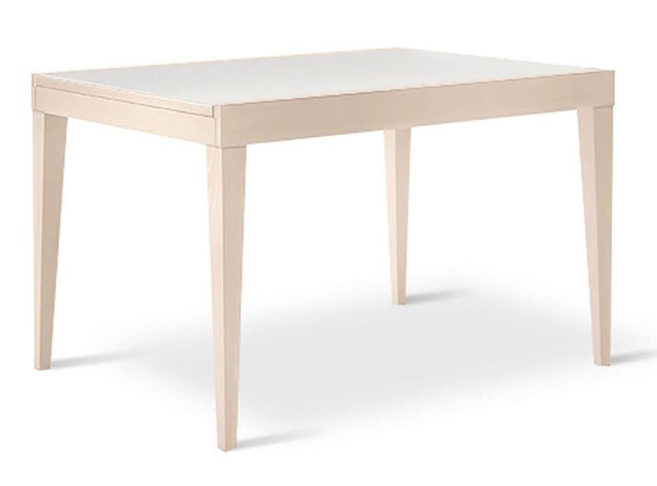 Tavolo allungabile in faggio e vetro, per sala da pranzo  IDFdesign