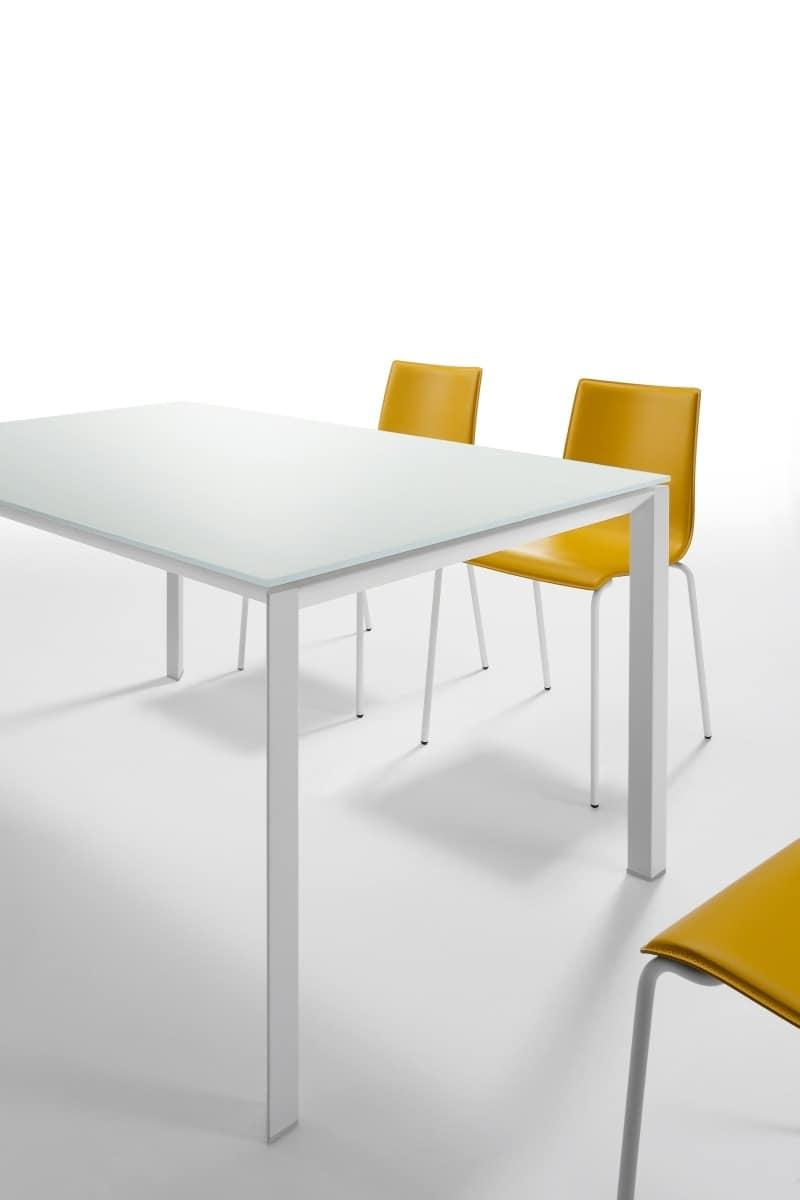 Klass, Tavolo allungabile con piano in cristallo antigraffio