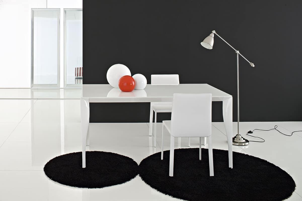 Tavolo allungabile in alluminio e piano in vetro temperato for Tavoli soggiorno allungabili design