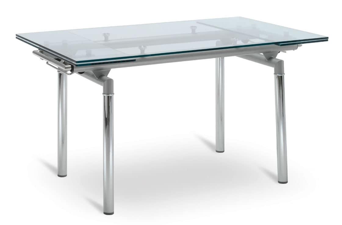 Tavolo allungabile con base in alluminio piano trasparente idfdesign - Tavolo trasparente allungabile ...
