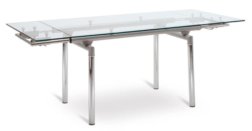 Tavolo allungabile con base in alluminio piano for Tavolo allungabile vetro trasparente