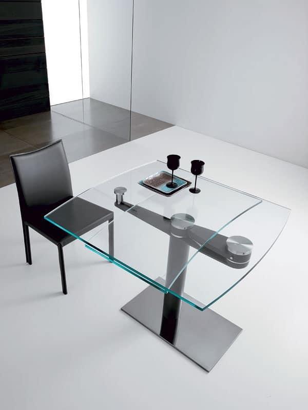 Tavolo rettangolare allungabile piano in cristallo for Tavoli cristallo design allungabili