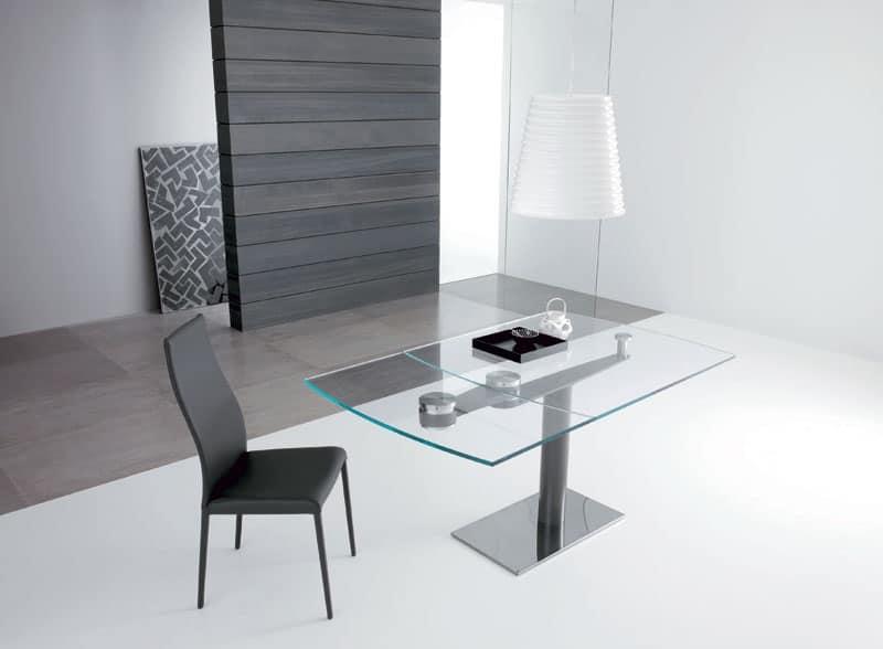 Tavolo rettangolare allungabile piano in cristallo for Tavoli in cristallo allungabili