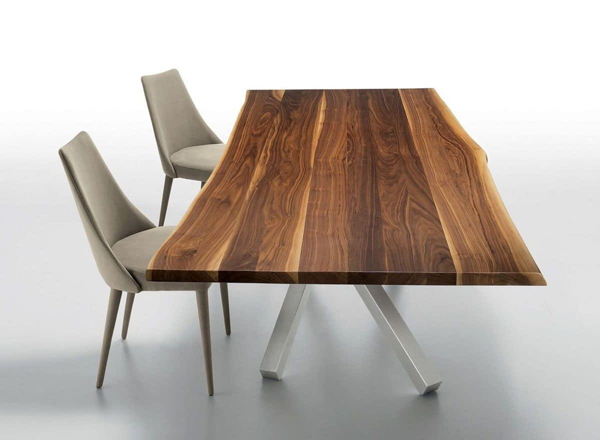 Tavolo fisso in metallo e massello di noce, diverse misure | IDFdesign