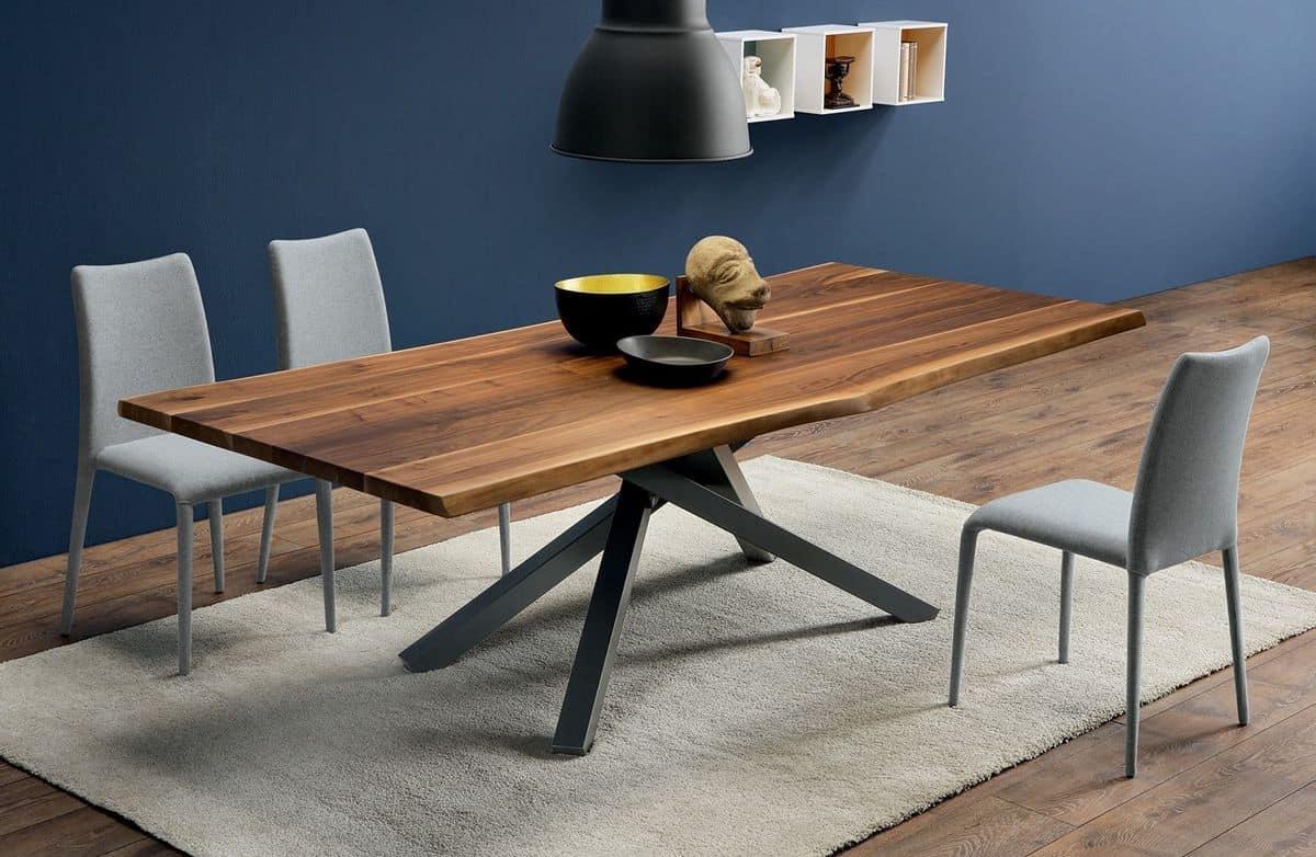 Tavolo fisso in metallo e massello di noce diverse misure for Tavolo di design in metallo