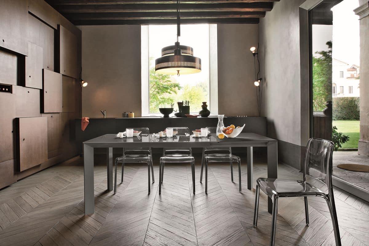 Tavolo allungabile rettangolare con piano in vetro for Tavoli allungabili moderni