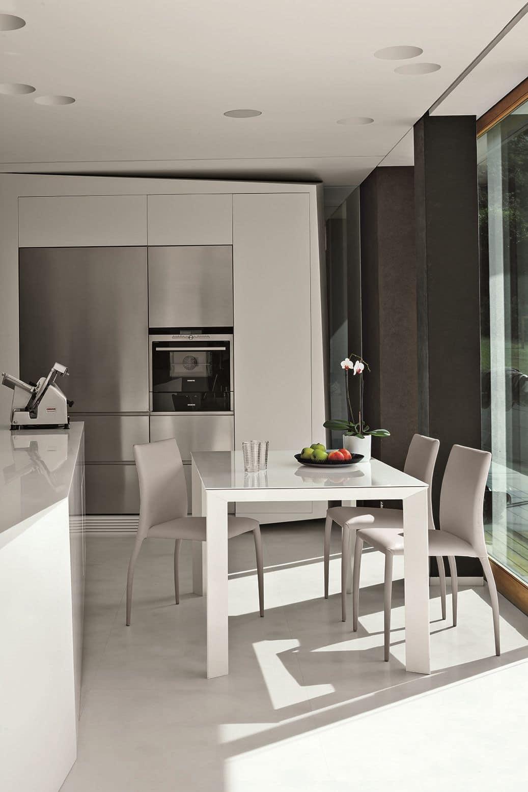 Tavolo allungabile rettangolare con piano in vetro - Piano tavolo vetro ...