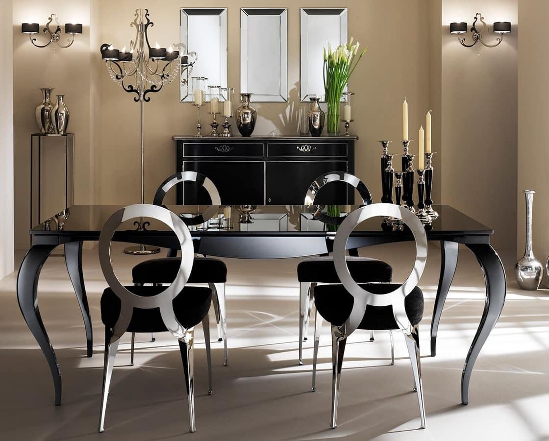 Tavolo con gambe in alluminio piano serigrafato idfdesign for Tavoli allungabili in vetro