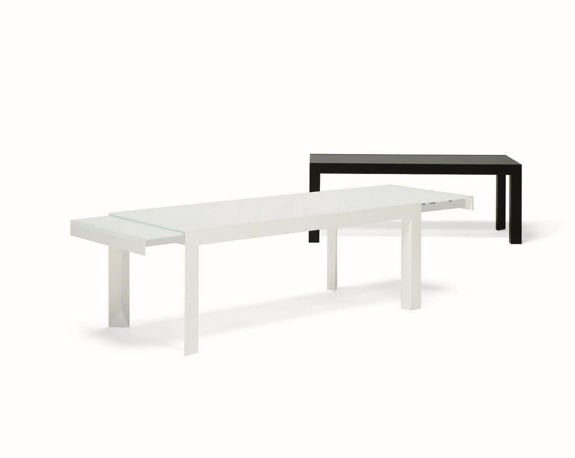 Tavolo allungabile in metallo laccato piano in cristallo - Piano tavolo vetro ...