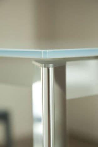 s70 ascanio, Tavolo quadrato allungabile con piano in vetro