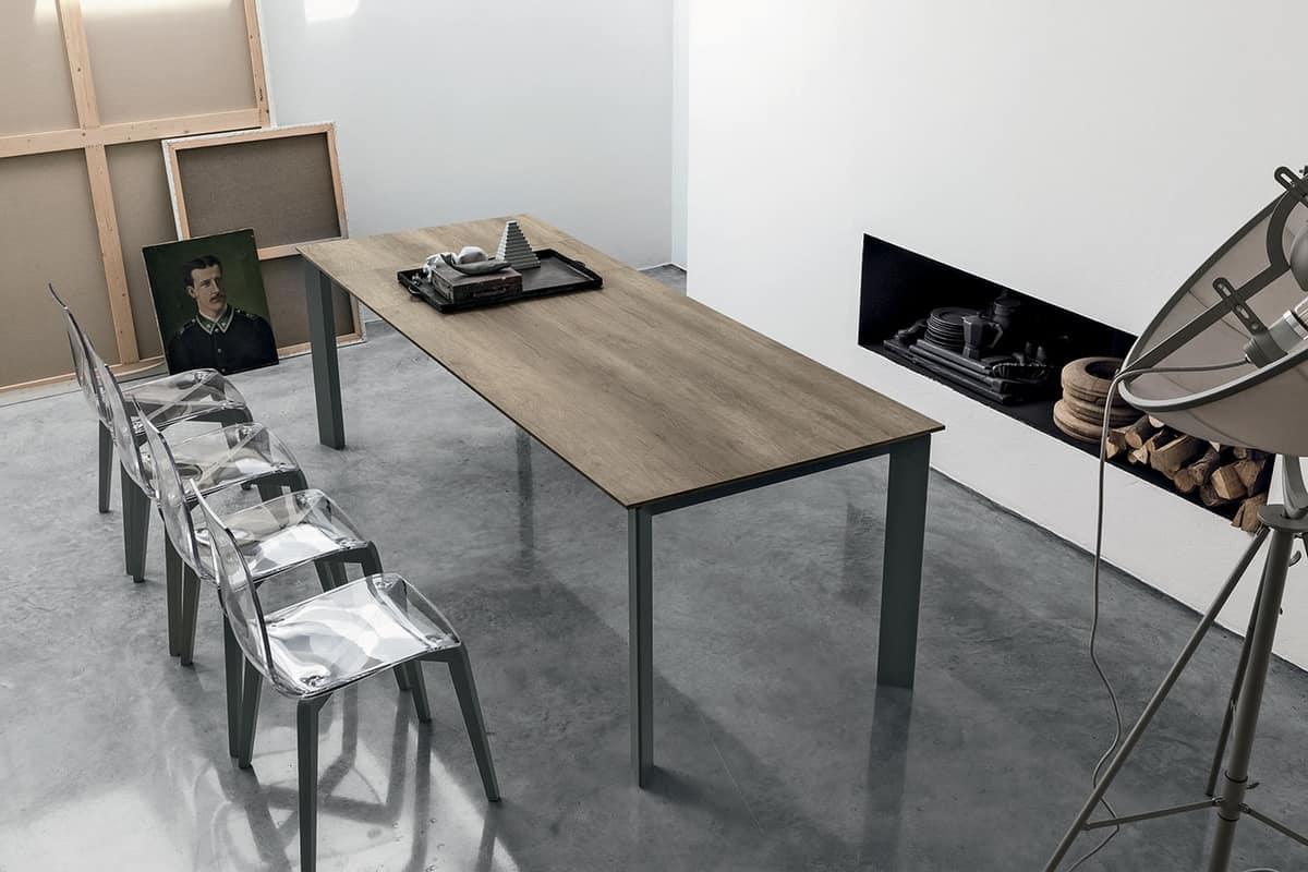 SATURNO 160 TA192, Tavolo allungabile con struttura in alluminio, piano in vetro temperato, stile moderno