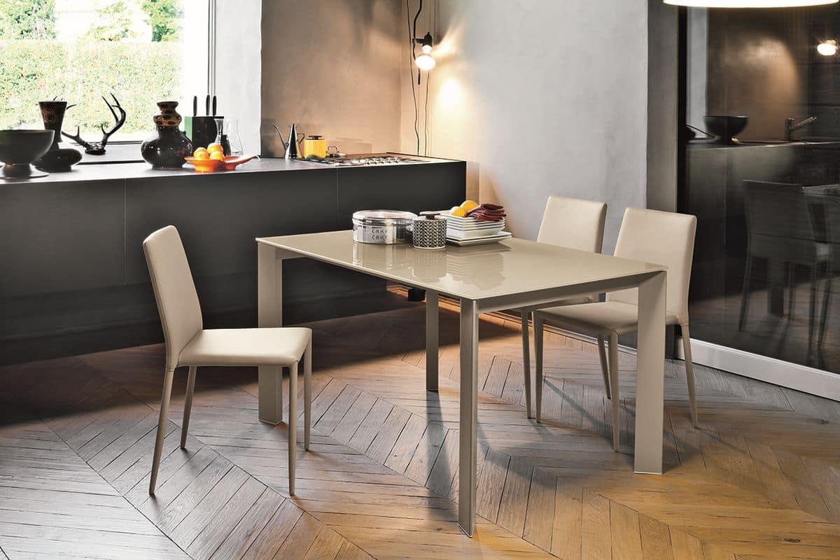 Tavolo allungabile con piano in vetro per cucine moderne - Tavoli cucina allungabili moderni ...