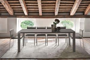 SATURNO TA188, Tavolo allungabile con piano in vetro per cucine moderne