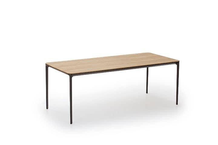 Slim Wood, Tavolo rettangolare con piano in legno