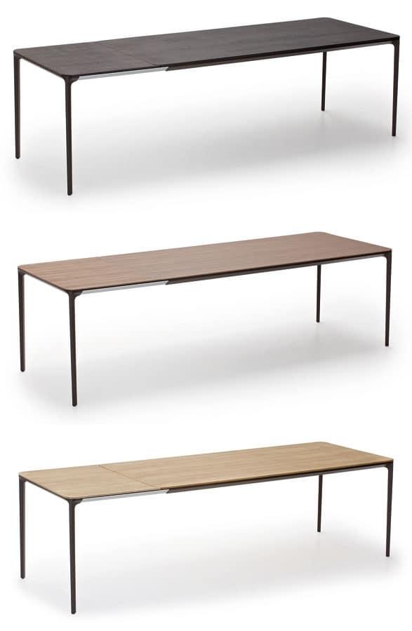 Slim Wood, Tavoli allungabili in vetro