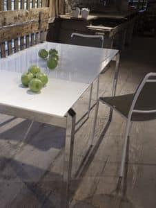 Smile, Tavolo allungabile con piano in vetro bianco