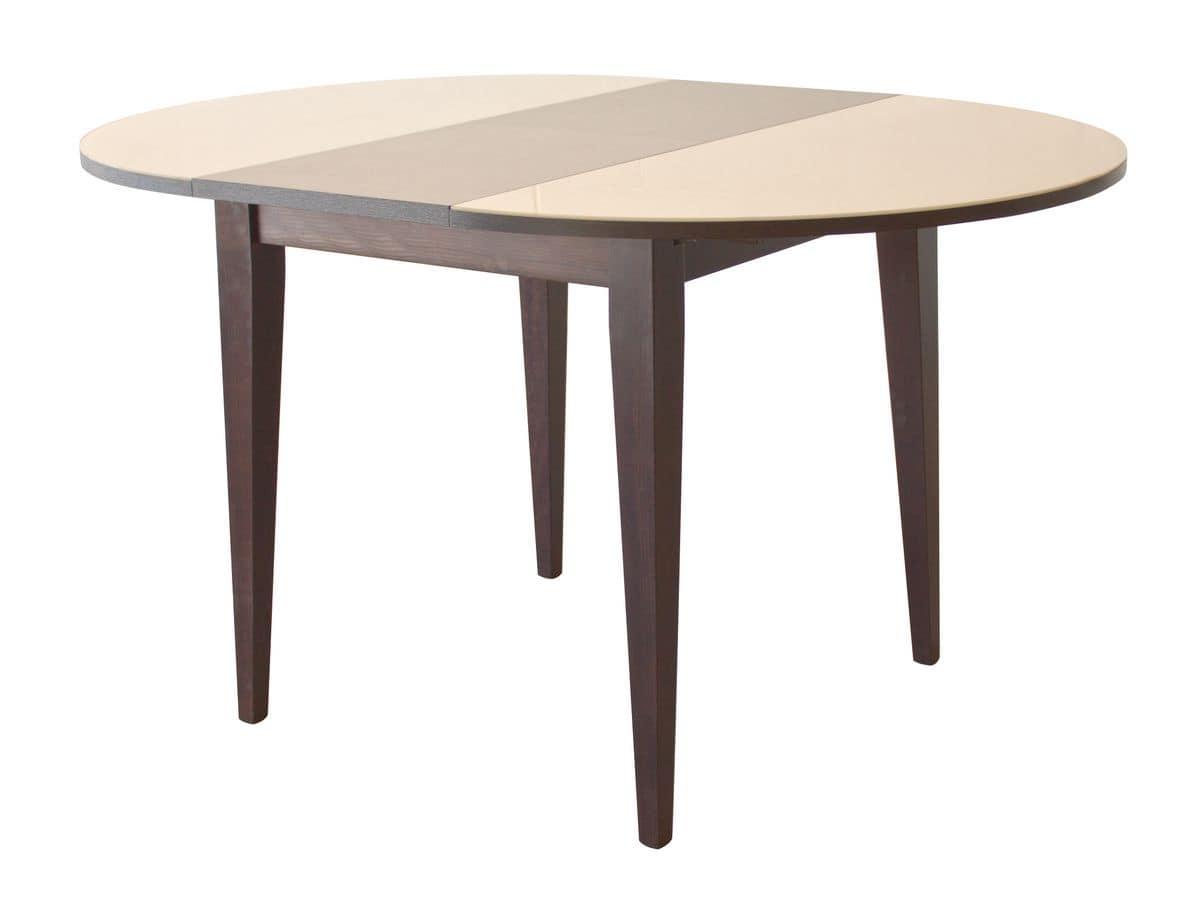 Tavolo tondo allungabile in legno piano in cristallo for Tavolo tondo allungabile moderno