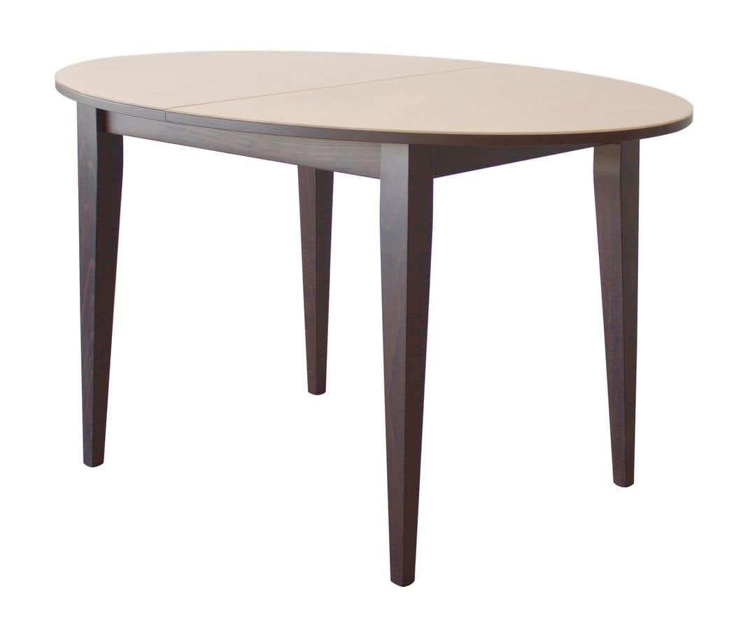 Tavolo ovale allungabile in legno piano con cristallo for Tavoli allungabili moderni