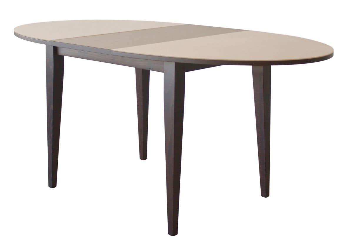 TA04, Tavolo ovale allungabile in legno, piano con cristallo