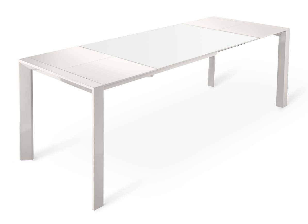 Tavolo in metallo con allunghe in legno e piano in vetro - Tavoli da pranzo in vetro ...