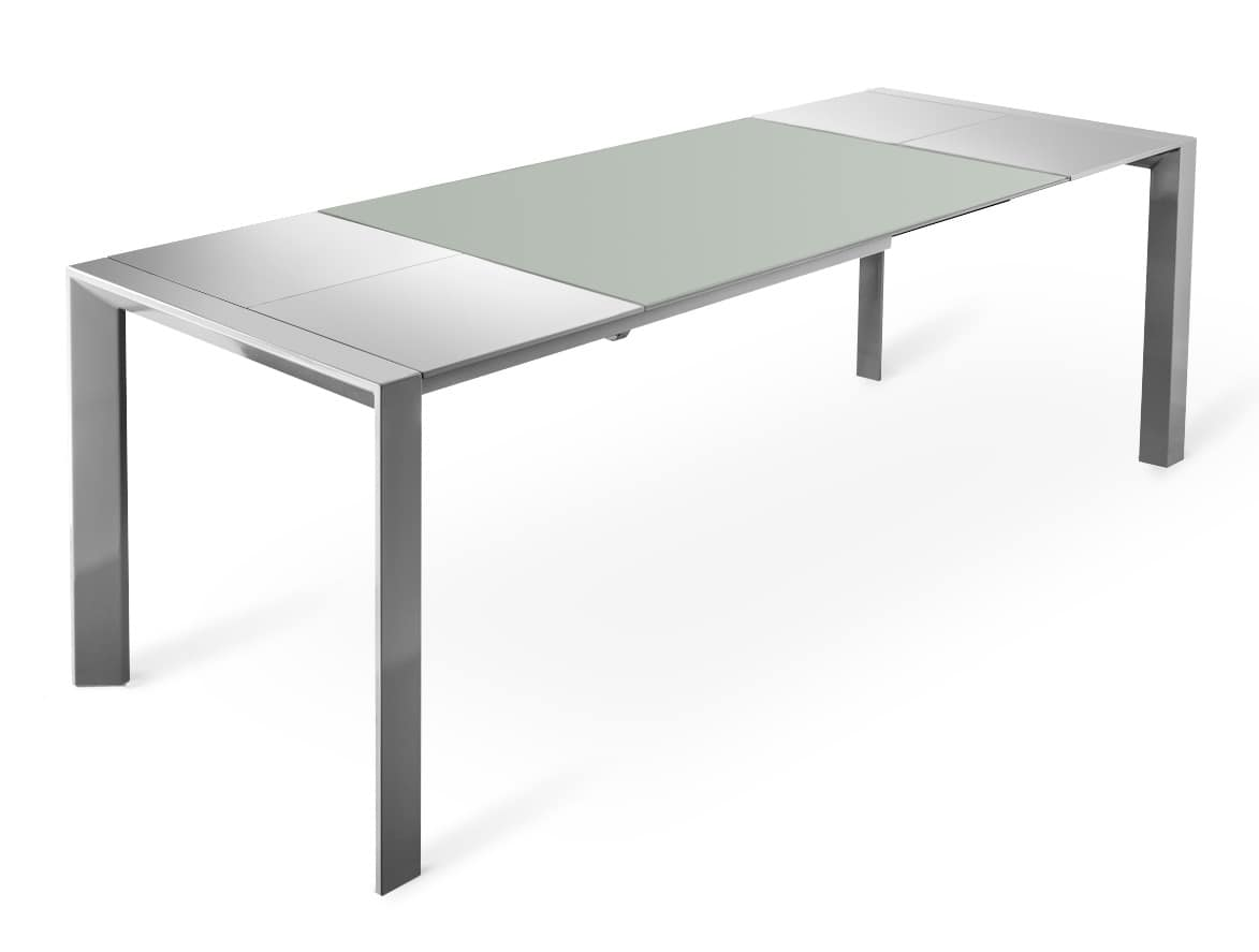 Tavolo in metallo con allunghe in legno e piano in vetro for Tavoli allungabili