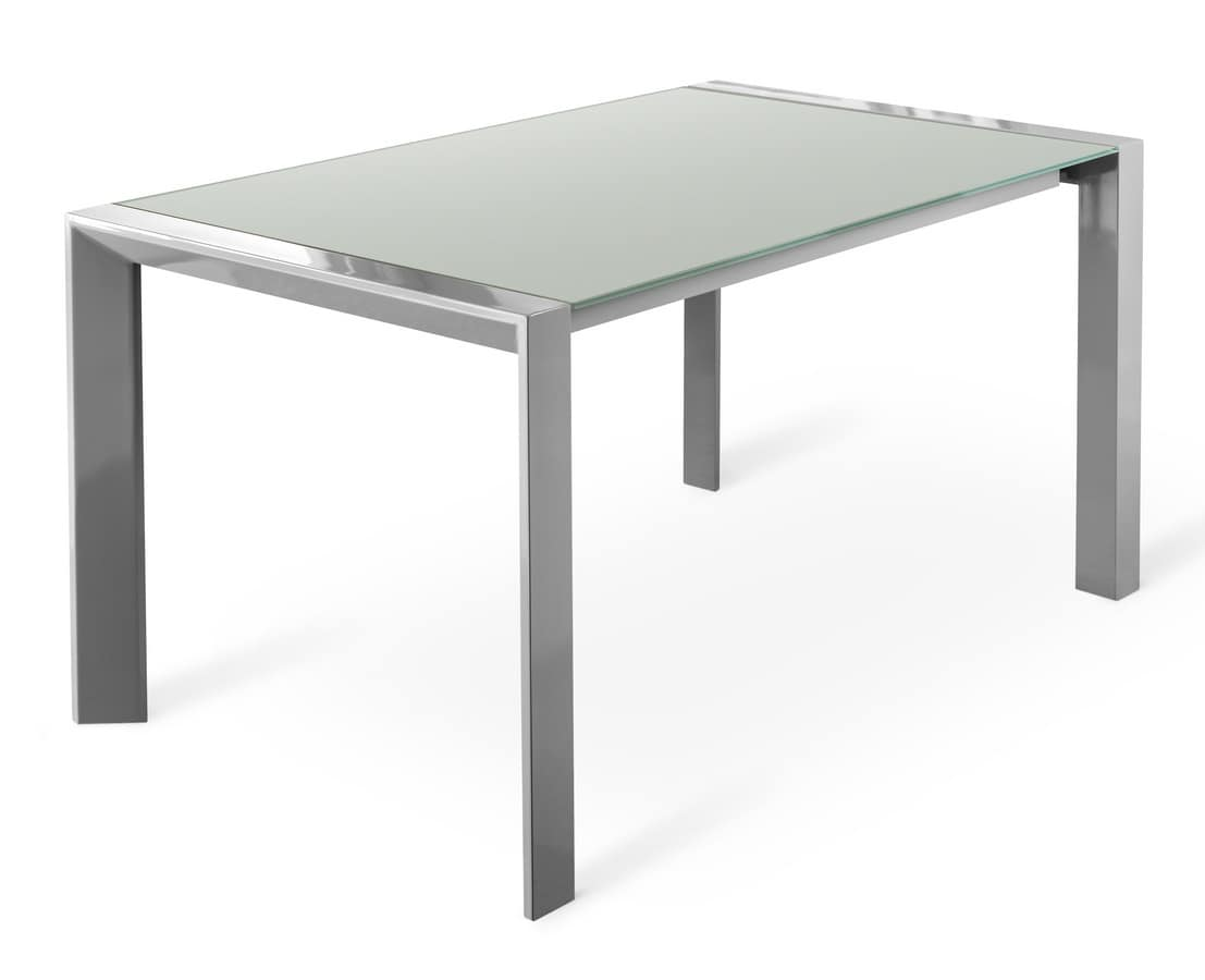 Tavoli tavoli allungabili moderni metallo vetro squadrati for Piano tavolo vetro