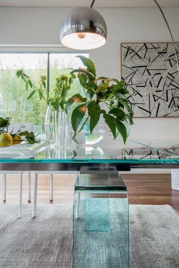 Tavolo da pranzo allungabile elegante in vetro curvato for Tavoli estensibili