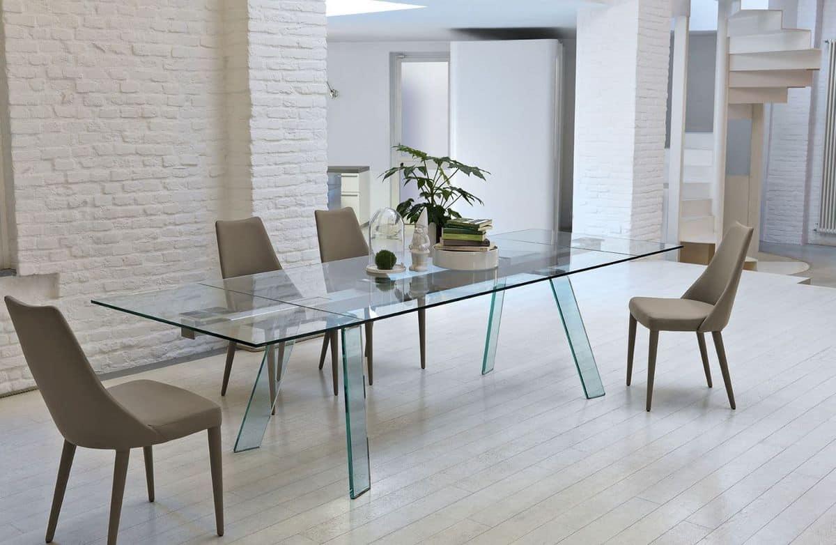 Tavolo allungabile con piano in vetro idfdesign for Tavoli in cristallo allungabili