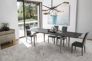 TOTEM TA509, Tavolo in legno massello e piano in gres porcellanato