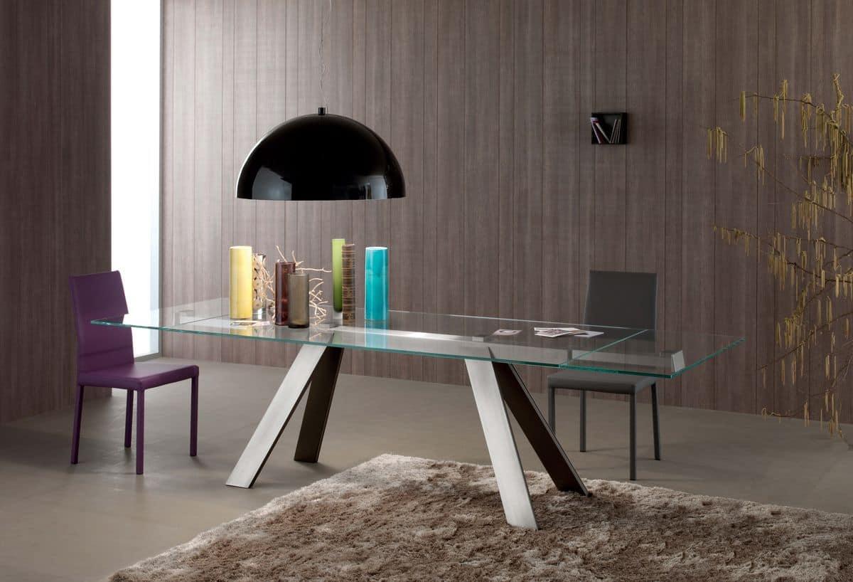 Tavolo Rettangolare Piano In Vetro Per Sale Da Pranzo IDFdesign #33787D 1200 818 Tavoli In Vetro Per Sala Da Pranzo