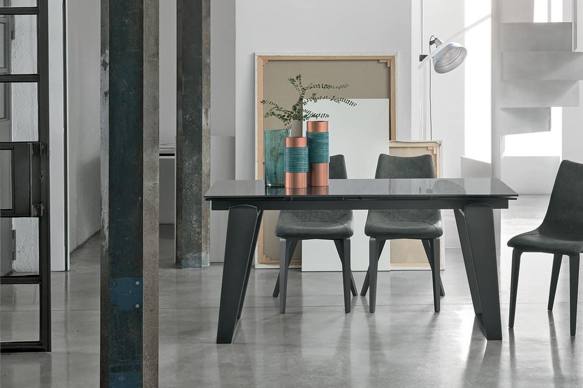 Tavoli Per Soggiorno Vetro.Tavolo Allungabile Per Soggiorno Moderno Idfdesign