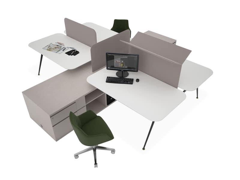 Mobili per postazioni di lavoro multiple idfdesign - Tavoli per ufficio ...