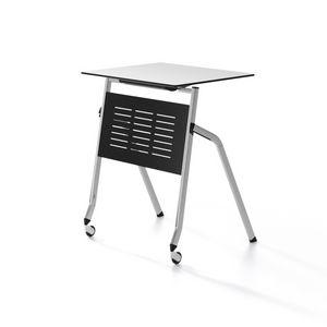 Pitagora, Tavolo con piano ribaltabile, impilabile orizzontalmente, per aule formazione e conferenze