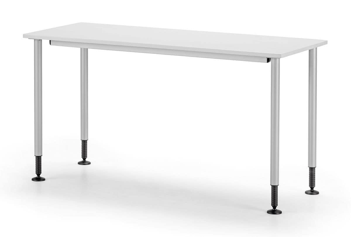 Tavolo semplice in metallo piedini regolabili per - Tavoli per ufficio ...