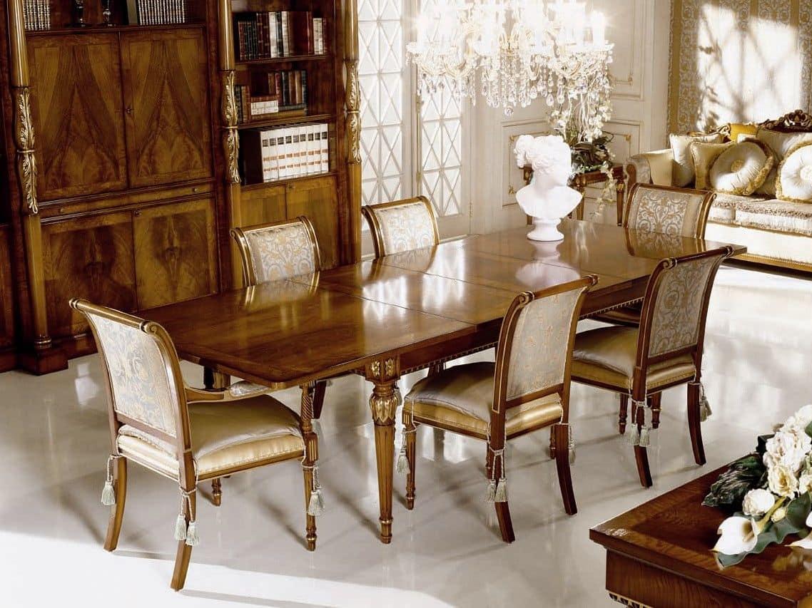Tavolo allungabile impiallicciato in piuma di noce e radica di frassino per sala da pranzo in - Tavolo sala da pranzo ...