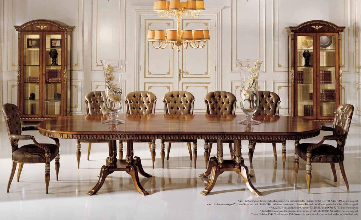 Tavolo allungabile impiallacciato in noce e radica di - Tavolo consolle allungabile stile classico ...
