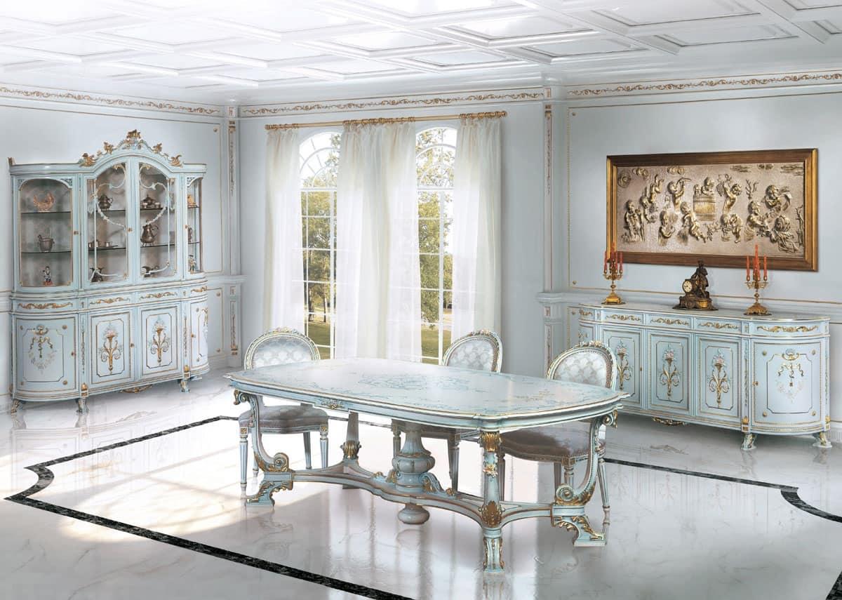 Sala da pranzo laccata bianco per zona giorno idfdesign - Tavoli per sala da pranzo ...