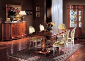 3190 TAVOLO, Tavolo in legno intarsiato, con 2 basi, per sala da pranzo