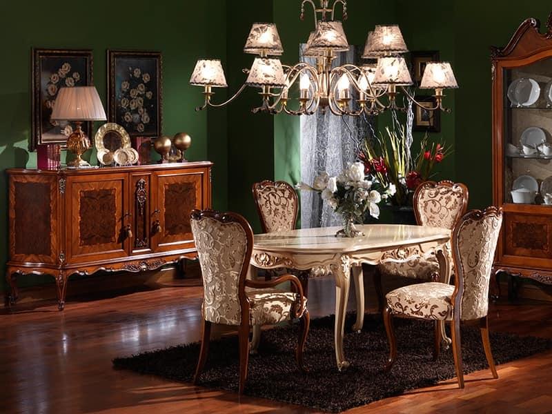 Tavolo intagliato ovale stile luigi xv finiture laccate - Tavoli da pranzo classici ...