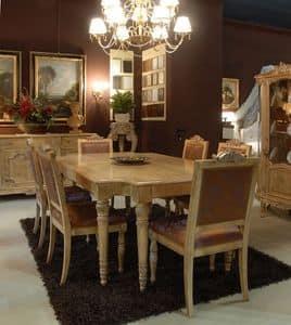 3485 TAVOLO, Tavolo con sedie imbottite per sala da pranzo, classico di lusso