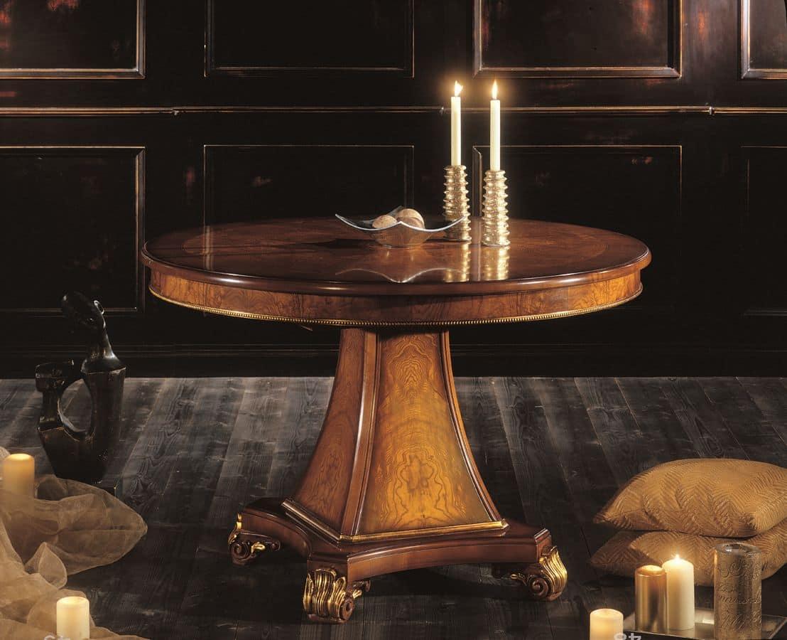 Tavolo rotondo allungabile impiallacciato in essenze di for Immagini di tavoli