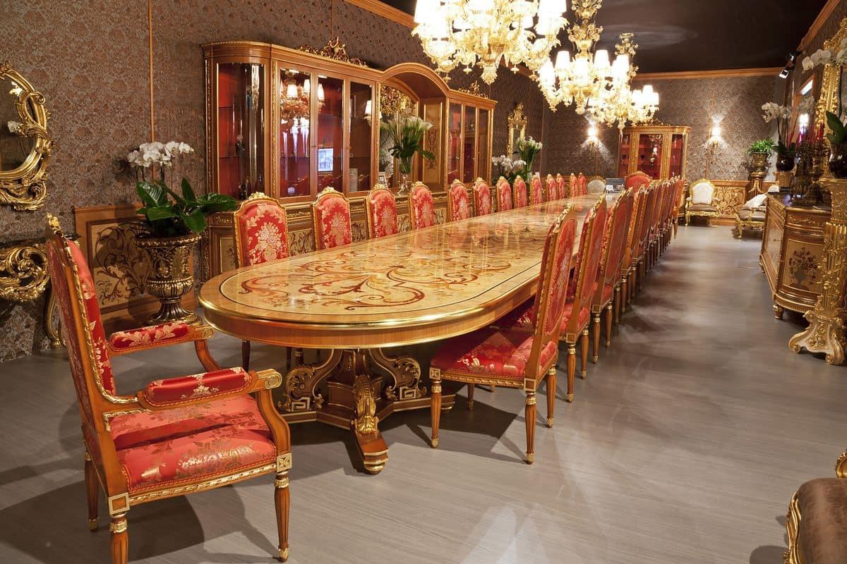 504/B Tavolo Grande Classico Di Lusso Adatto Per Ristoranti E  #A83D23 1200 800 Sala Da Pranzo Barocco Piemontese