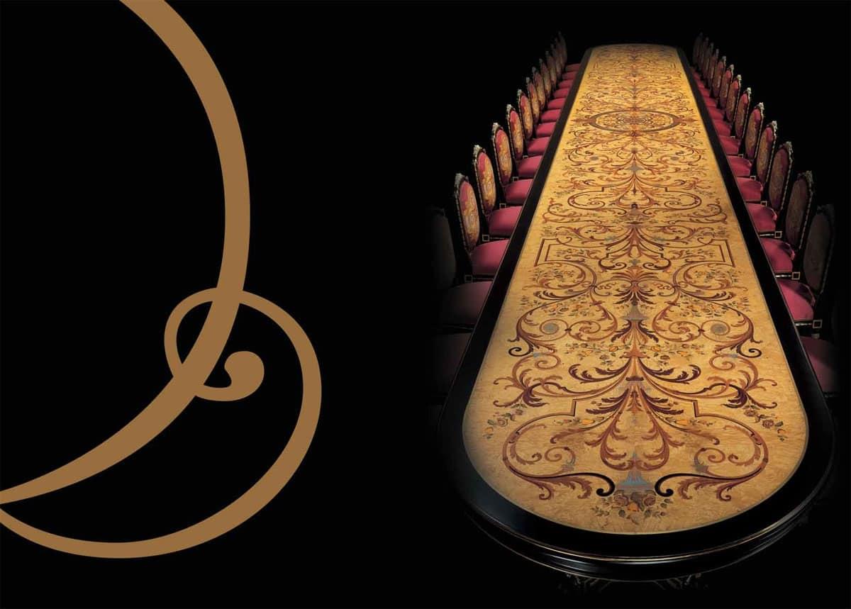 504 tavolo, Tavolo con decori preziosi, per hotel di lusso