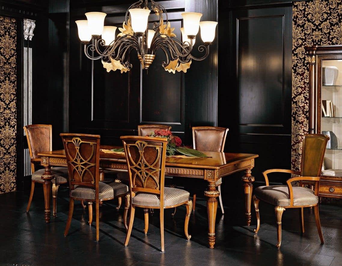 Tavolo rettangolare allungabile per sala da pranzo in stile classico idfdesign - Tavolo sala da pranzo ...