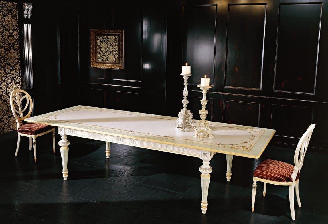 Tavolo Rettangolare Allungabile Per Sala Da Pranzo In Stile Classico  #8F573C 1150 785 Piantane Per Tavolo Da Pranzo