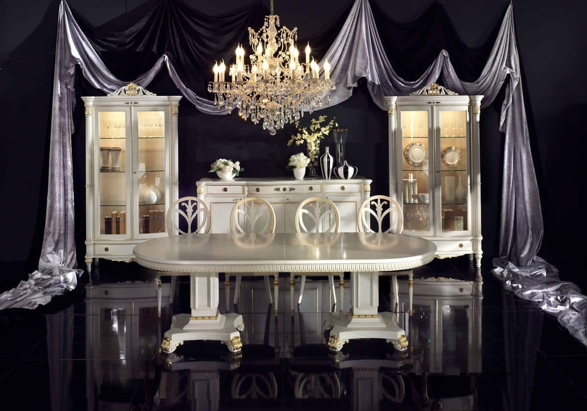Tavolo ovale allungabile impiallcciato in essenze di noce - Sale da pranzo stile classico ...