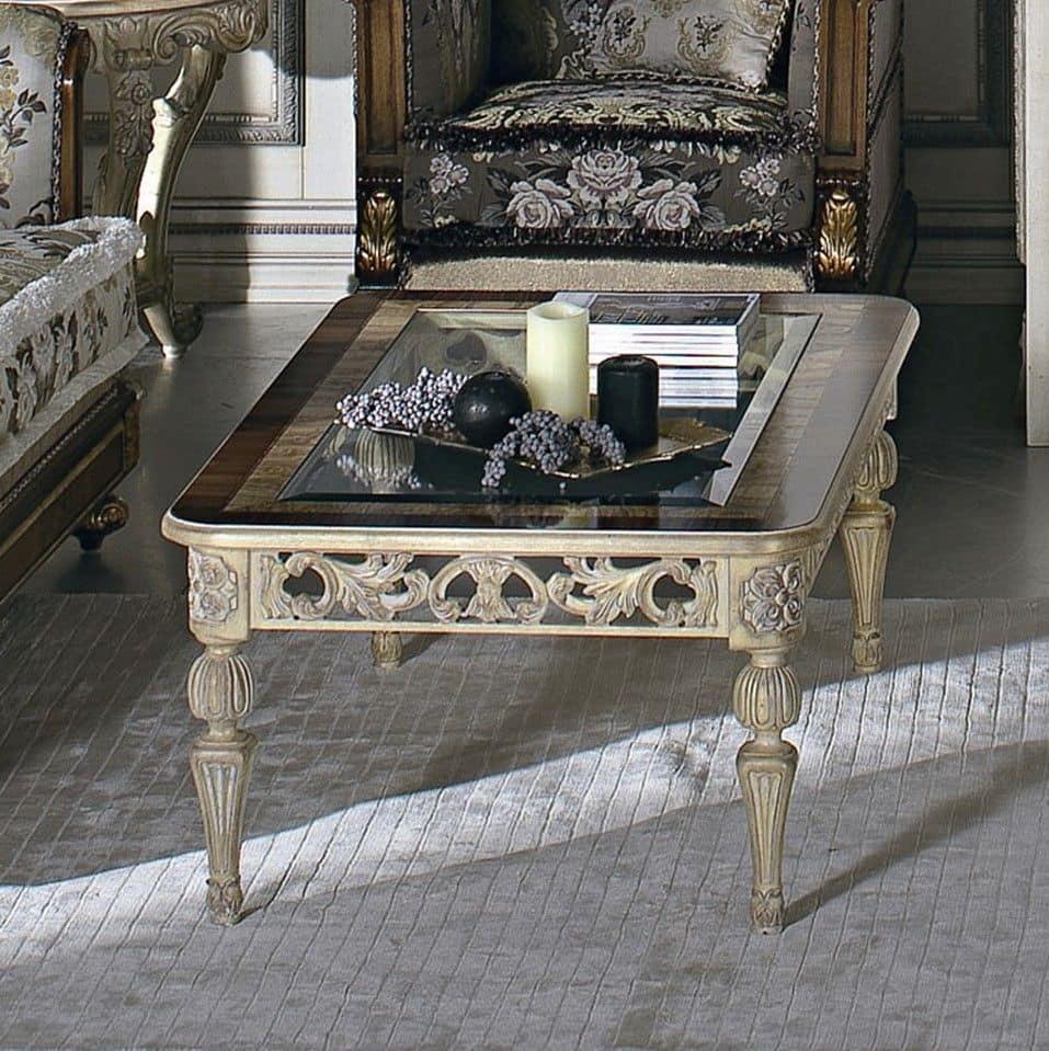 Tavolino rettangolare, in tiglio massello, piano a telaio in legno con vetro, per stanze in ...