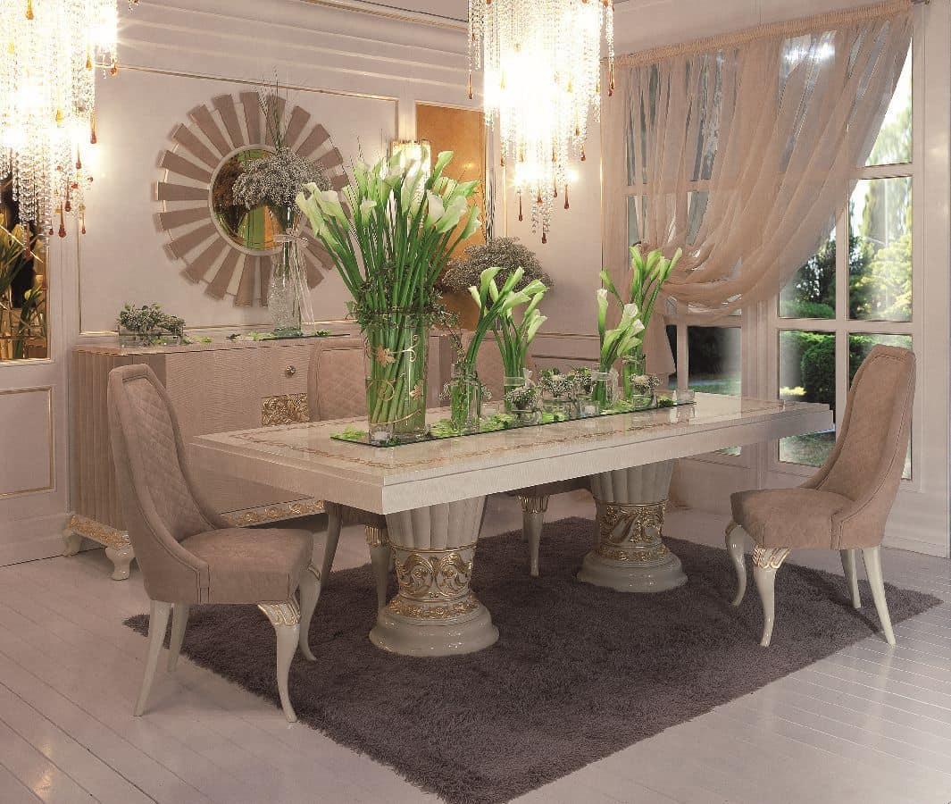Tavolo rettangolare classico di lusso per sala da pranzo idfdesign - Tavolo sala da pranzo ...
